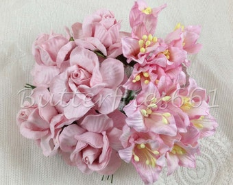 15 Handmade Mulberry Paper Flowers Mixed Pale Pink Large Wedding Roses and Lilly Code R40/L- 124