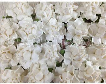 100 Handmade Mulberry Paper Flowers White Wedding Roses Code - 15