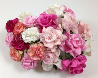 20 Handmade Mulberry Paper Flowers Mixed Sizes of Pink Carnation and Curly Roses