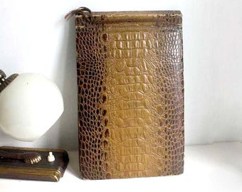 Vintage Irish Family Photo Album 1937-1944. Ireland/ UK. Faux Alligator Skin Binding. History. Collectible