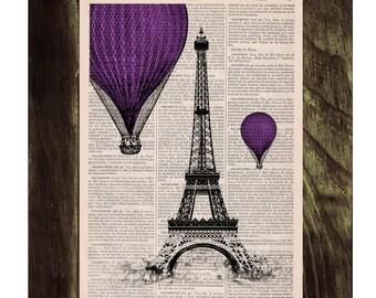Vintage Book Print -  Eiffel Tower Purple Balloons Ride Print on Vintage Book -France art BPTV031