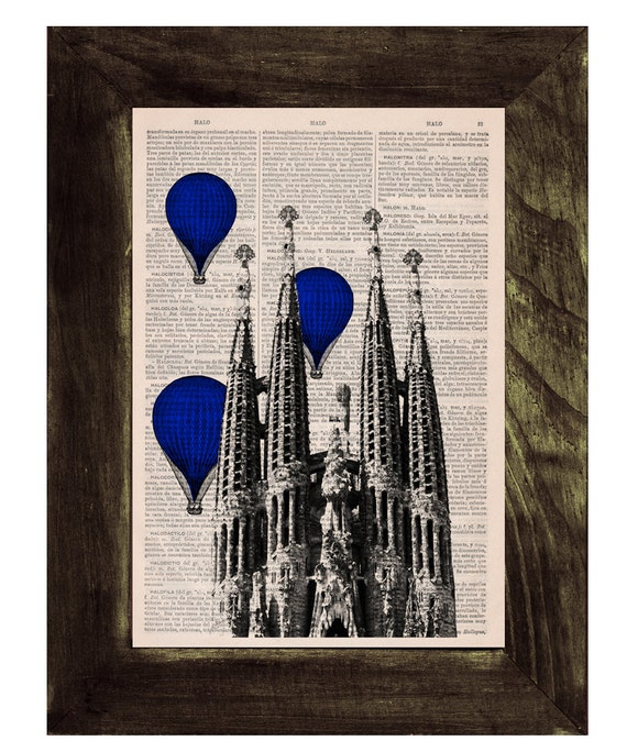 Spring Sale Vintage Book Print - Barcelona Sagrada Familia Balloons in blue Ride Print on Vintage Book art Gaudi Holy Family BPTV022