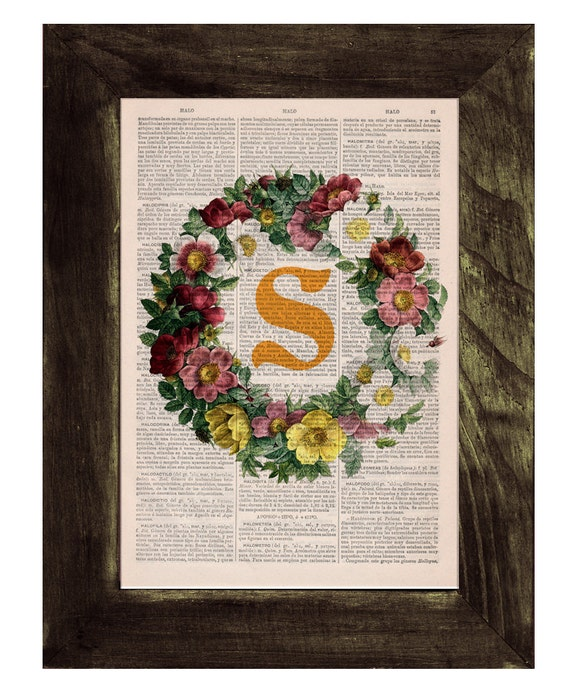 initail  Monogram wall art  Printed on Vintage Book page -Nursery personalized wall art BFL133