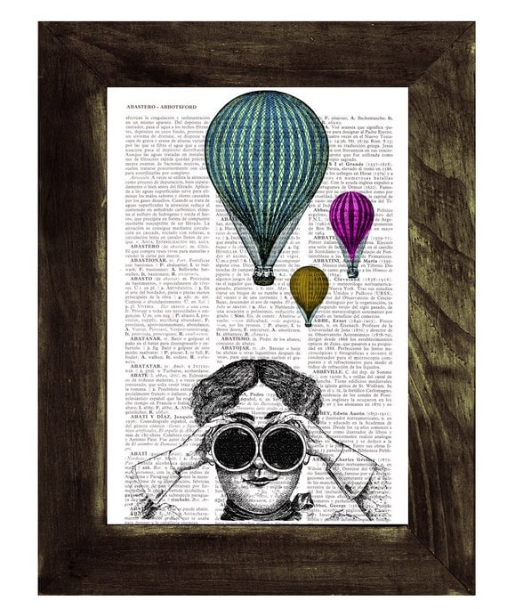 BOGO Sale Hot air balloon watching Wall decor poster art , Dorm wall hanging, gift, print  on vintage book page, print TVH147
