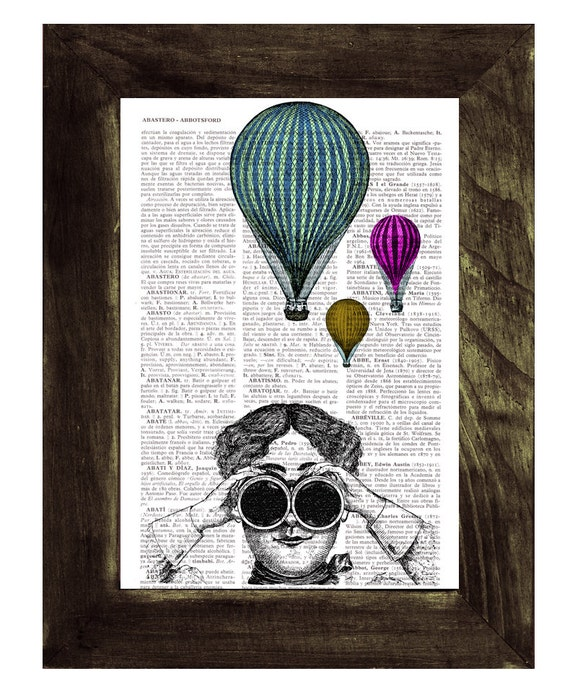 Spring Sale Hot air balloon watching Wall decor poster art , Dorm wall hanging, gift, print  on vintage book page, print BPTV147