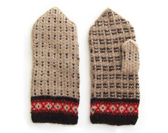Modern mittens hand knit by granny
