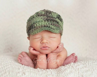 Crochet Pattern for Unisex Freedom Fighter Newsboy Beanie Hat - 9 sizes, preemie/doll to lg adult - Welcome to sell finished items