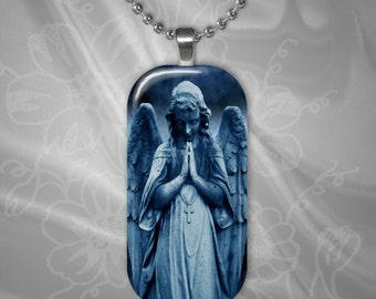 Stone Angel glass tile pendant