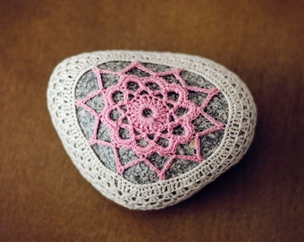Art - Hand Crochet Lace Covered Beach Stone