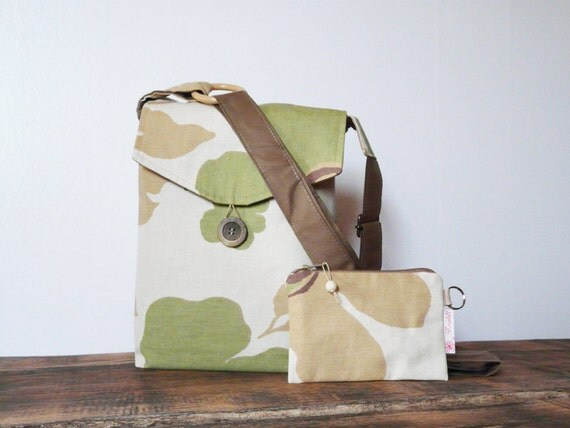 Cross Body Bag and Purse Beige and Green colors Small Shoulderbag