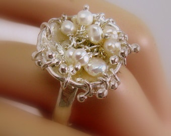 Oyster Shell Handmade Ring with Water Bells Granules & Freshwater Pearls - Ocean Inspired OOAK Ring - Fine Jewelry - Size 8.5 Ready to Ship