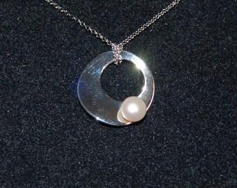 White Pearl Pendant, Sterling Silver Circle, Freshwater Pearl, Urban Pearl Pendant, June Birthstone