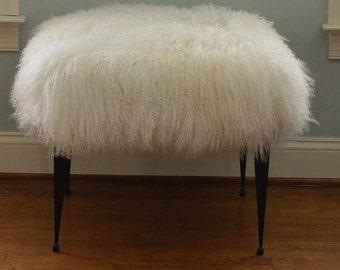 Real Natural Mongolian Lamb Fur Bench Tibet Stool  New Sheepskin Footstool Fur Ottoman foot  stool