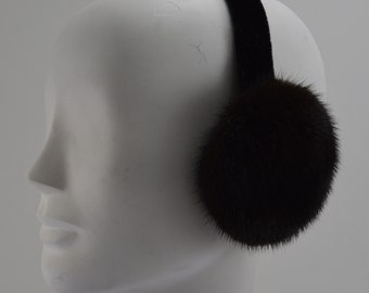 Real Ranch brown Mink Fur Earmuffs new made in usa new