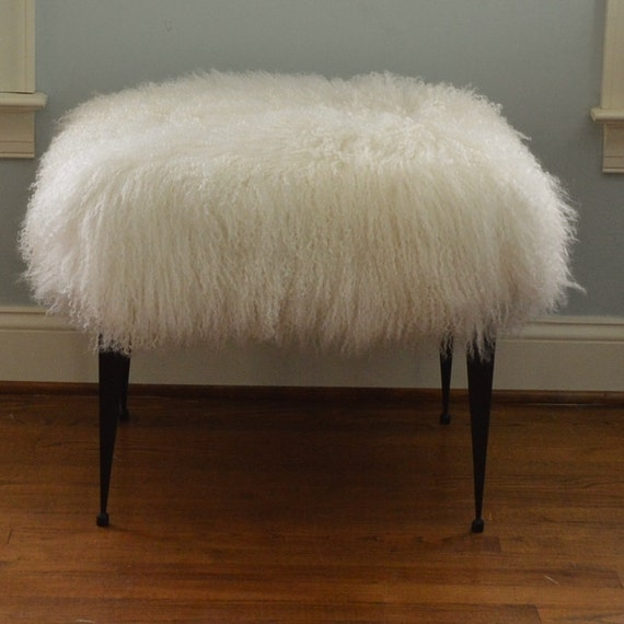 Real Natural Mongolian Lamb Fur Bench Tibet Lamb Stool by ...