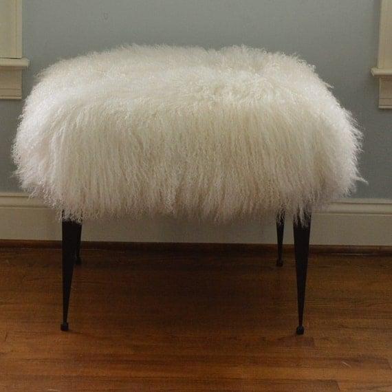 Like this item? - Real Natural Mongolian Lamb Fur Bench Tibet Stool New