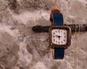 Vintage Woman Handcraft Wrist Watch with Leather Band /// Nemo Blue - Perfect Gift for Birthday and Anniversary