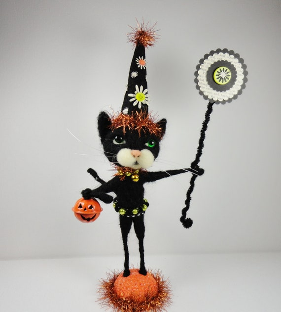 Halloween Black Wizard cat Kitten wool needlefelted mercury glass beads orange tin pumpkin  tinsel Trick or Treat - Trickster