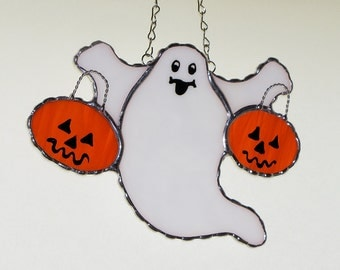 Stained Glass Suncatcher - Halloween Spooky Ghost with Two Pumpkins