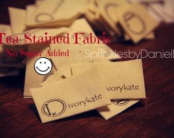 Tea Stained Fabric Labels, 50 folded labels
