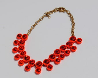 Neon Orange Rhinestone Necklace