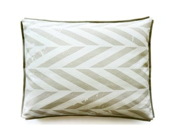 Linen pillowcase Toddler or travel size Grey Chevron Zig Zag by Lovely Home Idea