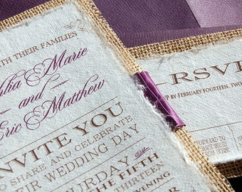 NEW- D-I-Y Modern Type Playbill Wedding Invitation With Purple Pleated Ribbon- Rustic Burlap Wedding Invitation