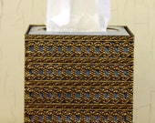 Vintage 1970s Gold Metal Tissue Holder (E3329)