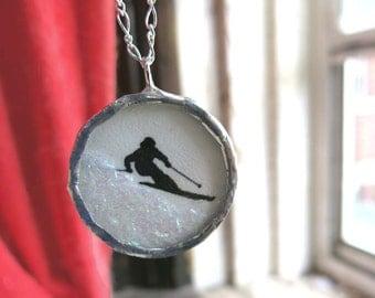 Olympic Skiier Snow Globe Style Ski Lover Necklace Black Silhouette Winter Sports