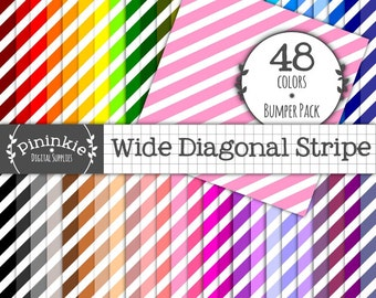 48 Wide Diagonal Stripe Digital Papers, Instant Download & Commercial Use, Striped Digital Scrapbooking Papers, 12x12, Digital Paper Stripe