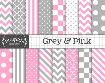 Pink and Grey Digital Paper, Digital Scrapbook Paper, Background Paper, Instant Download, Commercial Use, Pink Chevron, Pink Polka Dots Grey