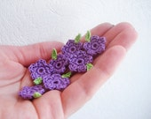 Crochet Flowers & Leaves, Garden / Meadow Appliques, Tiny Small Purple Flowers, Spring Green Crochet Leaves, Decorative Motifs, Set of 7