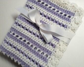 Baby blanket crochet white lavender striped blanket