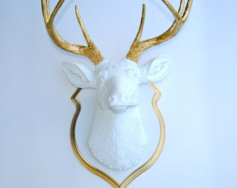 White and Gold Faux Deer Head with Matching Shield Mount DS0108
