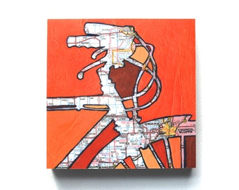 Omaha mounted print - Omaha Nebraska Council Bluffs Iowa wooden art block