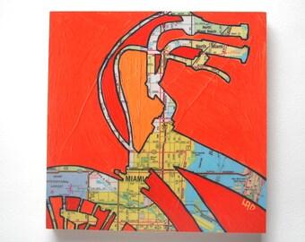 Miami mounted print -bike art featuring Miami Florida bicycle art on wood