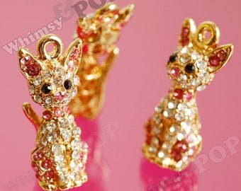 1 - 3D Rhinestone Pink Kitty Cat Diamante Gold Charm, Cat Charm (5-5J)