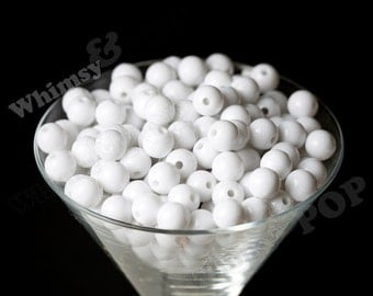12mm - White Gumball Beads, 12mm Gumball Beads, 12mm Beads, Small Gumball Beads, Opaque Acrylic Round Beads, 2mm Hole