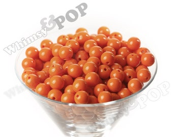 12mm - Orange Gumball Beads, 12mm Gumball Beads, 12mm Beads, Small Gumball Beads, Opaque Acrylic Round Beads, 2mm Hole