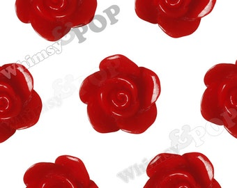 Red Rose Beads, Flower Beads, Drilled Flowers, 17mm (R7-021, C1-12)