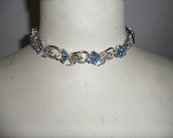 Authentic Vintage Blue AB Silver Necklace, Choker, Beautiful, Wedding.