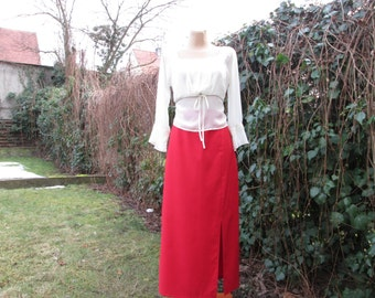 Long Skirt / Pencil Skirt / Skirt Vintage / Size EUR38 / UK10 / Red Skirt / Slit in Front