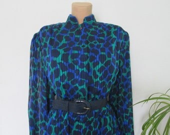 Large Dress Vintage / Long / Maxi / Black / Green / Blue / Size EUR48 / UK20 / Big / All Lining