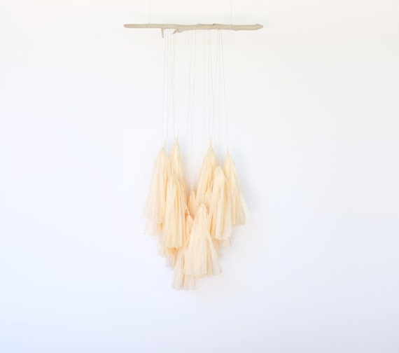 Peach Fringe Mobile on Driftwood