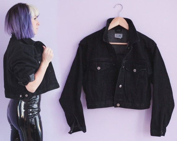 80s Cropped Black Denim Jacket Size M by minipennyvintage on Etsy