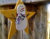 3 handmade star with snowman ornament