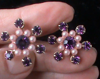 Pretty purple screwback earrings