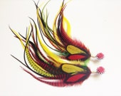 4g Feather Plugs, 0g Rasta Plugs Long Dangle Plugs, 2g Rose Plugs Red Green Yellow Feather Dangles 11-12 inches Hippie Gauges