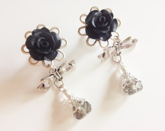 8mm 0g Dangle Plugs With Bows 24 Colors, 4mm 6g Rose Plugs 2g 6mm, 5mm 4g Gauged Earrings Bows and Beads Body Jewelry 00g Ear Plugs