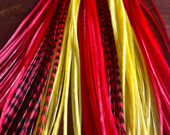 3 Loose Hair Feathers Red, Yellow, Red Grizzly Long Extension Feathers for Feather Hair Extensions